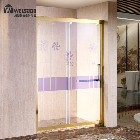 Double sliding metal top rail tempered glass bathroom shower door on China WDMA