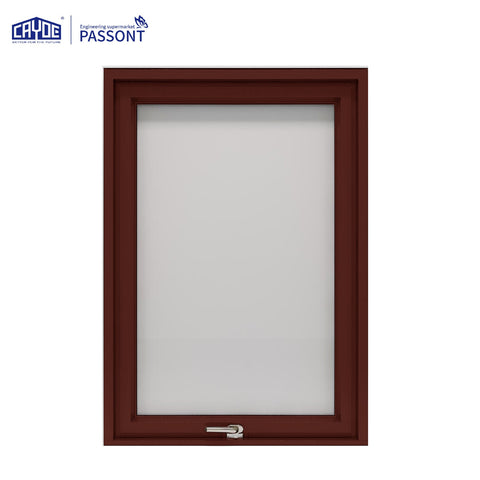 Double tempered glass extruded aluminum window frame top hung casement window on China WDMA