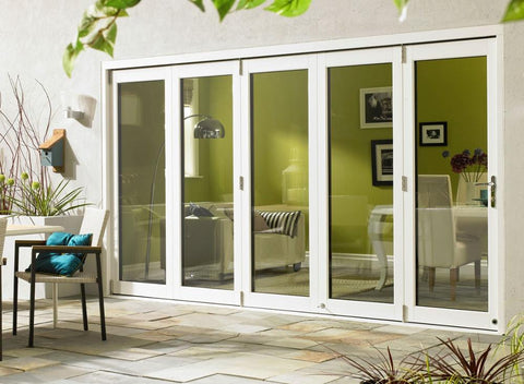 Double tempered glazing bi fold door Accordion aluminum glass patio exterior bifold doors on China WDMA