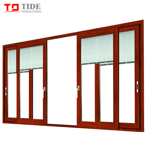 Double track door aluminum timber Teak wood sliding glass door with internal blinds on China WDMA on China WDMA