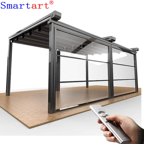 Electric Vertical sliding guillotine glass window for glass pergola on China WDMA