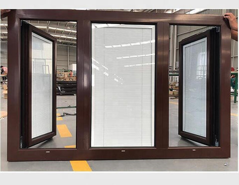European Standard bay bow windows soundproof thermal break aluminum fixed corner glass windows with blinds built for commercial on China WDMA