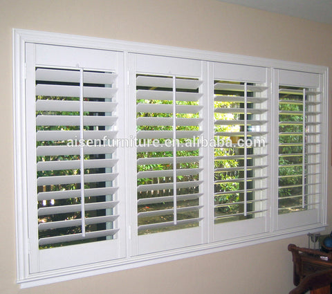 European style interior wood plantation shutter louvre 63/89/114mm slats for bi-fold and sliding door on China WDMA