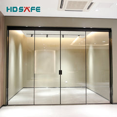 European style matt black small frame Synchronous soft closing glass sliding door system on China WDMA