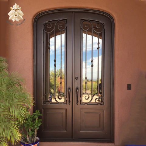 Export low french single/double exterior wrought iron doors NTED-105Y on China WDMA