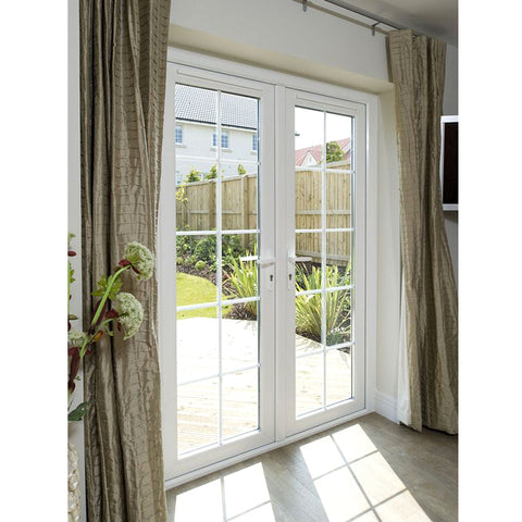 Export standard modern French residential large aluminum double pane patio swing doors with grid on China WDMA