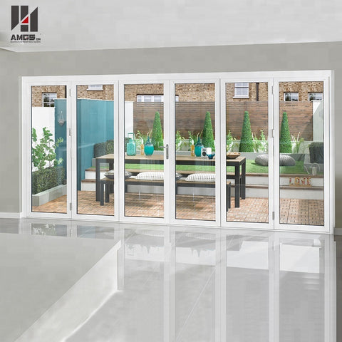 Exterior Patio Clear Hollow White Aluminum Folding Bifold Doors Toughened Glass Door on China WDMA