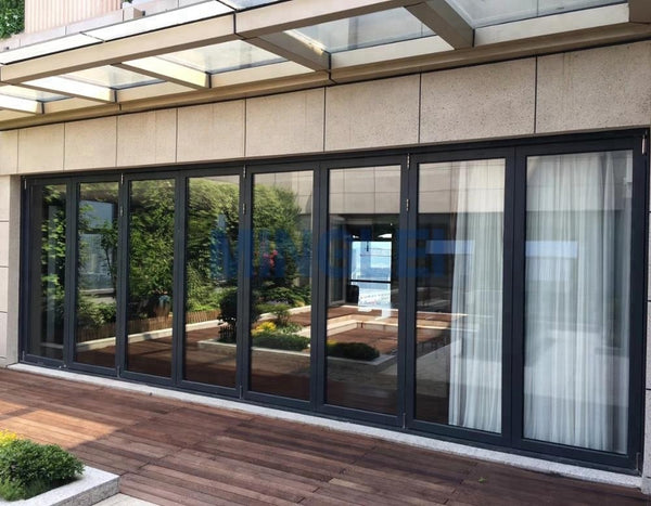 Exterior aluminium folding patio accordion glass doors on China WDMA