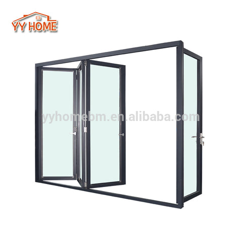 Exterior aluminium folding sliding door with retractable fly screen on China WDMA