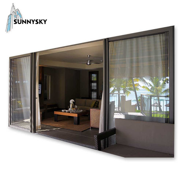 Exterior triple track waterproof aluminum sliding glass door with US & Japan standard on China WDMA