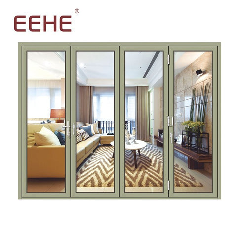 Factory custom lowes double glass insert interior aluminium extrusion profile bifold doors on China WDMA