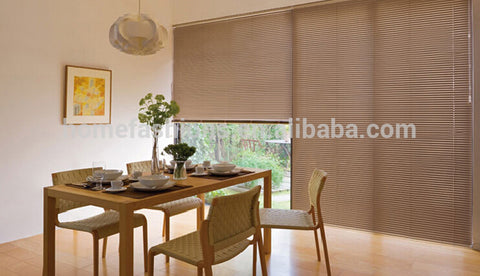 Factory direct-sale Hollow glass windows faux wood blind rolling shutter wooden venetian blind on China WDMA
