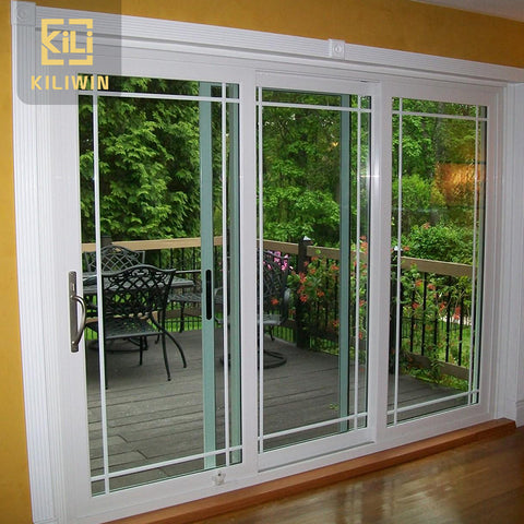 Factory price grill design 3 panel standard size aluminum sliding glass door for philippines patio veranda on China WDMA