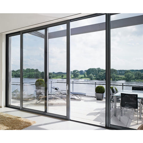 Factory price size customized aluminum frame double triple glazed aluminium glass sliding door on China WDMA