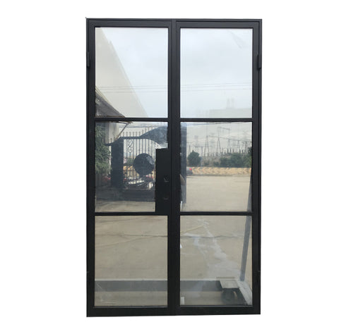 Fashion Black Frame Glass Panel Iron Interior French Door on China WDMA