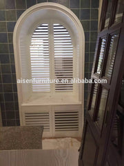 Faux wood louver arch window plantation shutter on China WDMA