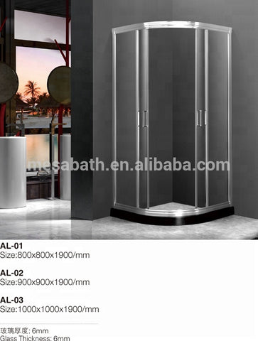 Flat glass aluminum frame shower sliding door for bathroom with marble base on China WDMA