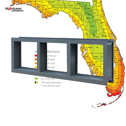 Florida Approved aluminum fixed glass panel hurricane impact miami window on China WDMA