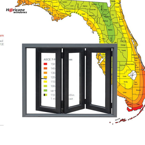 Florida Miami-Dade Hurricane Approved NOA China tm boca raton best aluminum al bifold hurricane high impact glass windows on China WDMA