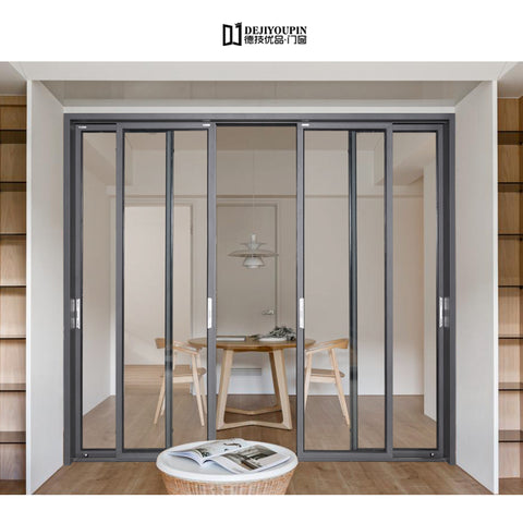 Free Sample DJYP D136Z thermal break air tight commercial aluminum profile lift and slide main entry door for villas on China WDMA