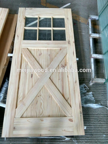 French Style 6-Lite Flat Top With Half X Brace Bi-Parting Exterior Glass Barn Door With Sliding Door Hardware on China WDMA