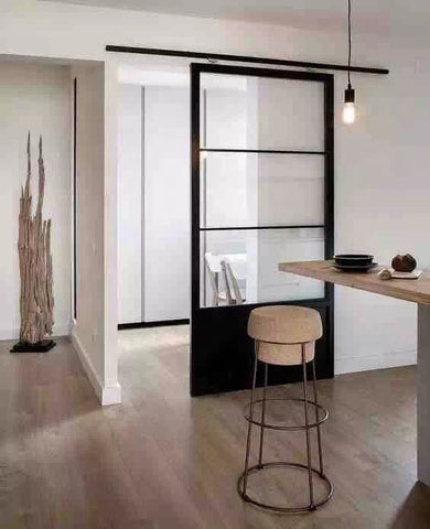 French barn door Steel frame Fixed doors windows, single or double glazed tempered glass, thermal/non-thermal barrier frame on China WDMA