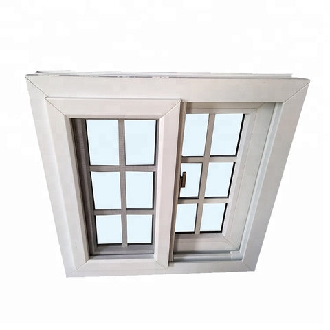 French style UPVC sliding windows with fly screen mesh and grill design for villa on China WDMA