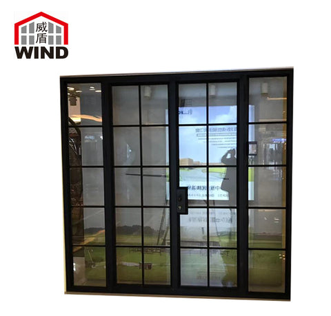 French style horizontal narrow frame customized color double glass sliding aluminium windows and doors with grill design on China WDMA
