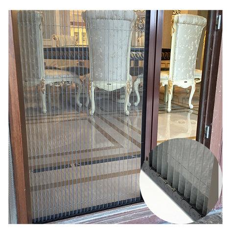 GM_Characteristic red double door aluminum fold door design high quality bi folding mosquito screen door on China WDMA