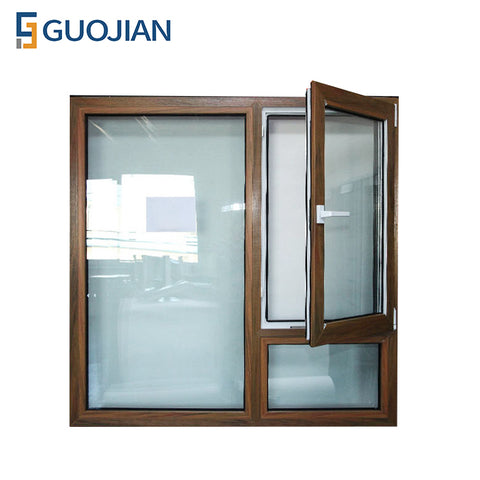 GUOJIAN vinyl single hung single glass upvc casement windows on China WDMA