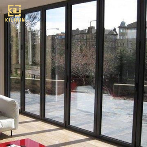 German technique villa exterior bi fold doors luxury large black triple glazed soundproof aluminium folding patio door on China WDMA