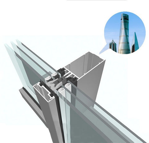 Glass Fixed Window Aluminum Curtain Wall Frame for Building Facades on China WDMA