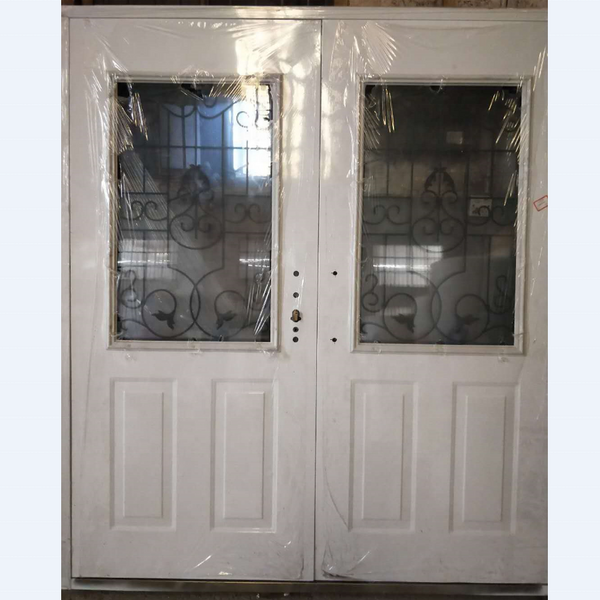 Glass doors metal frame double pane tempered glass steel doors on China WDMA