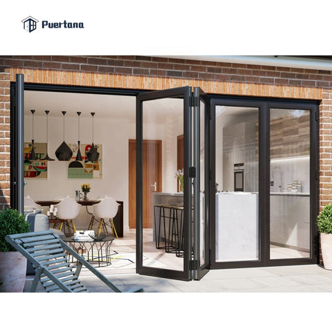 Grey Aluminium Glass Folding Sliding Patio Doors on China WDMA