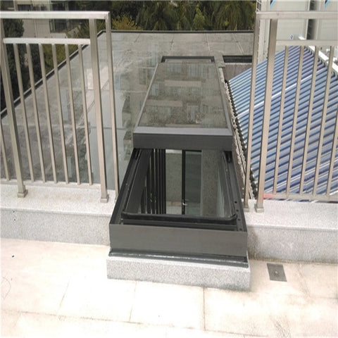 Grey aluminium profile blinds german doors windows electric automatic sliding skylight roof window on China WDMA