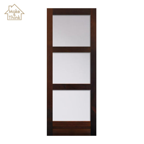 Fiber 3 panel glass insert wood interior office french doors on China WDMA
