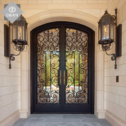 beautiful design interior wrought iron doors for villa swing open exterior outdoor wrought iron front double entry doors on China WDMA