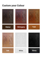 China WDMA Traditional Design Exterior Solid Wooden Double Leaf Front Door