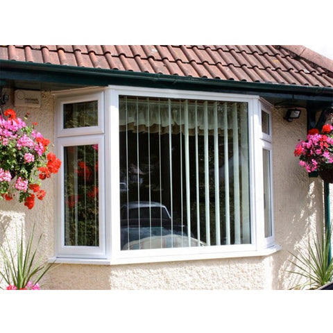 Home Used Balcony Decoration White Corner Glass Window Tilt Turn Bay Aluminium Window