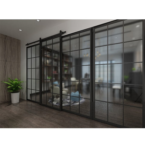 French Style Aluminum Iron Black Glass Sliding Steel Framed Barn Door Hardware on China WDMA