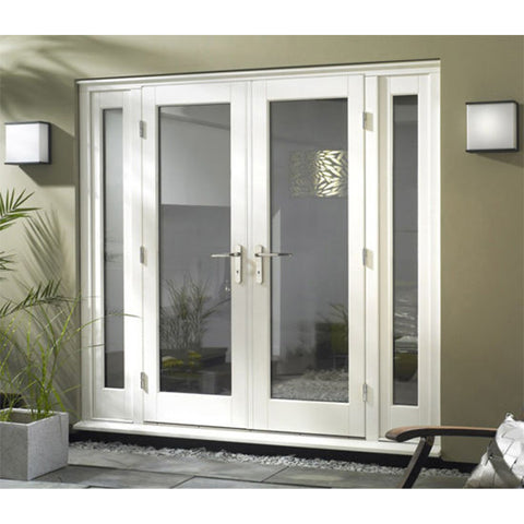 HS-UPVC005 cheap price french exterior apartment front casement doors white plastic upvc swing door on China WDMA