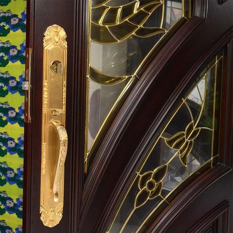 HS-YH8112 latest main gate designs for house mahogany main teak wood double door design wooden front door beautiful iron gate on China WDMA