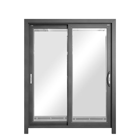 15 Colors D100A aluminum clad wood exterior french sliding patio door with blinds and shades on China WDMA