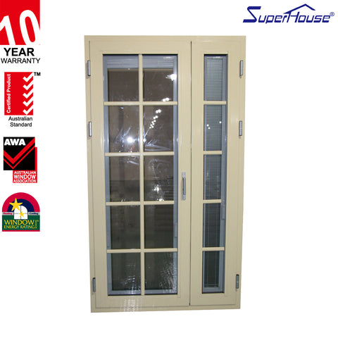 Aluminium front door with colony bar glass french door blinds in on China WDMA