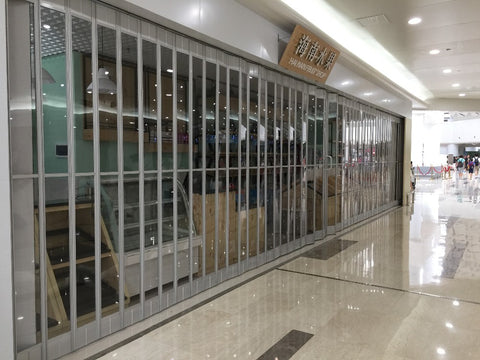 commercial aluminum full view glass roll up doors polycarbonate folding patio door on China WDMA
