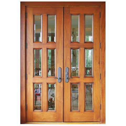 Prettywood Modern Design Inserts Frosted Glass Solid Wooden Exterior French Doors on China WDMA
