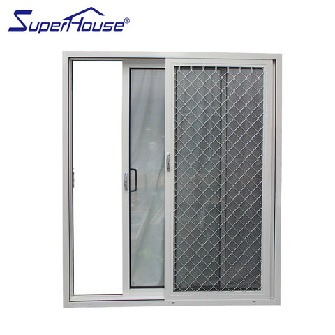 Thermal break Sliding aluminum doors with stainless steel security screen on China WDMA