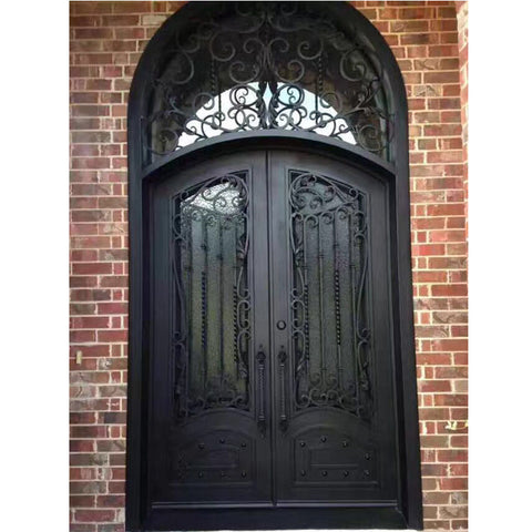 Accept custom front entry main wrought iron double door on China WDMA