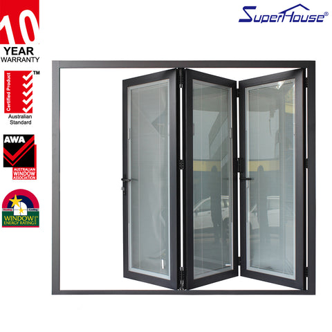 Thermal break aluminium door insulated folding door with blinds in on China WDMA
