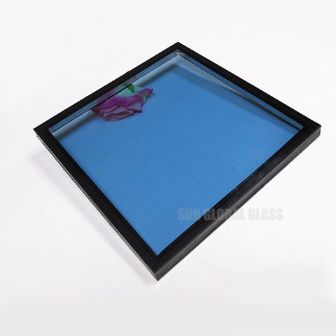 High quality blue insulated glass sound proof low e tempered double glazing panels curtain wall window door greenhouse price on China WDMA
